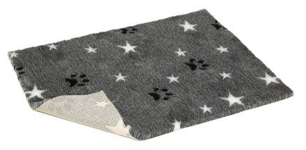 Vetbed® Rutschfest grau mit weißen Sternen und Pfoten 100 x 150 cm